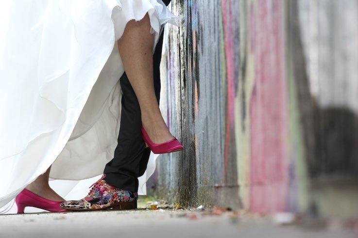 Stijlvolle toffe gekleurde trouwschoenen