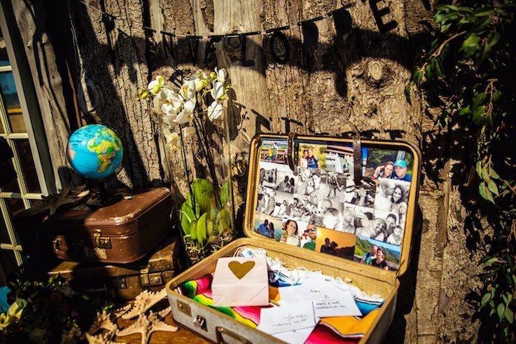 Vintage koffer als enveloppenbox bij een bruiloft met als thema reizen