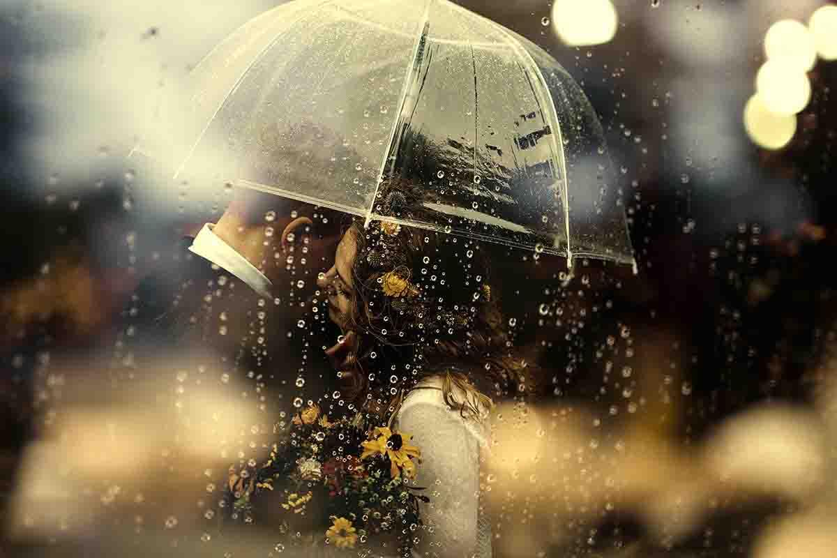 Een paraplu voor als het gaat tijdens je huwelijksdag