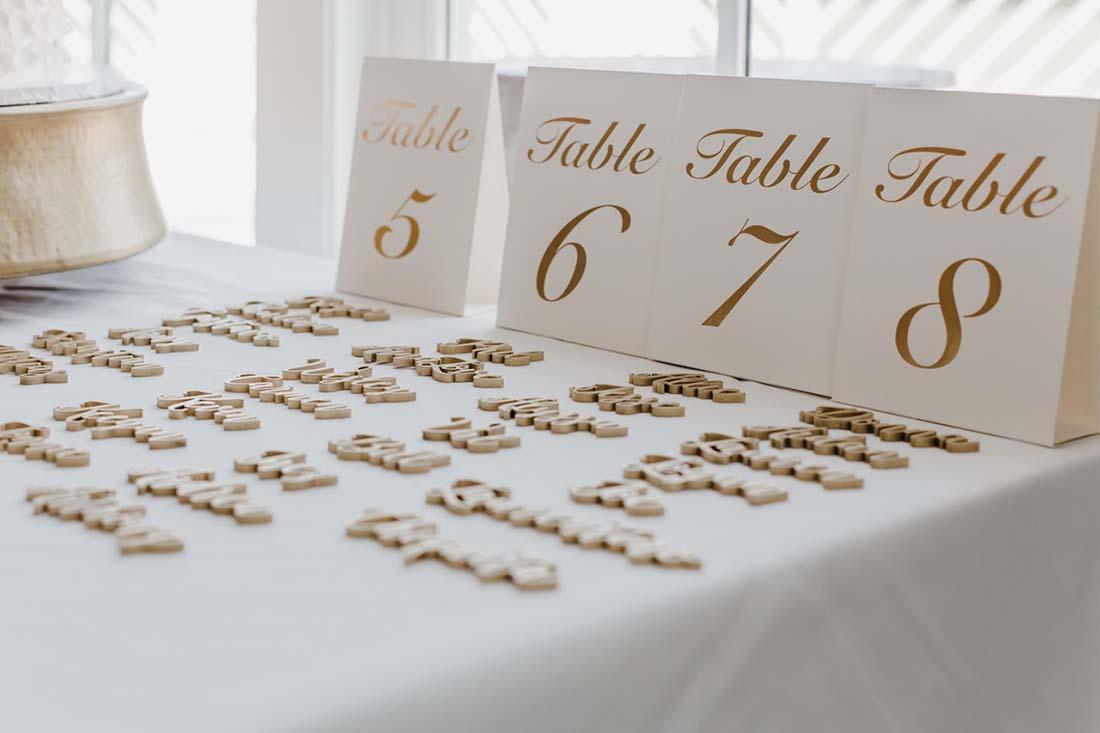 Tafelaanwijzing gasten voor het bruiloftsdiner