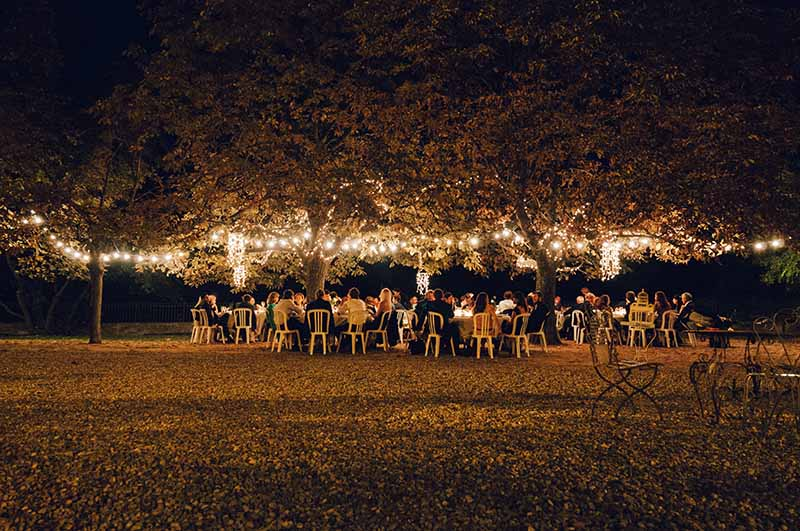Bruiloftdiner in de buitenlucht