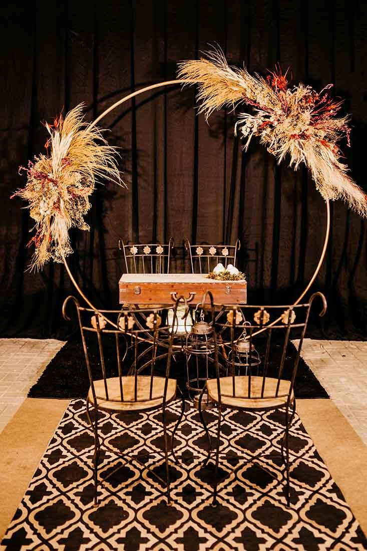 Backdrop voor bruiloft in een ronde vorm